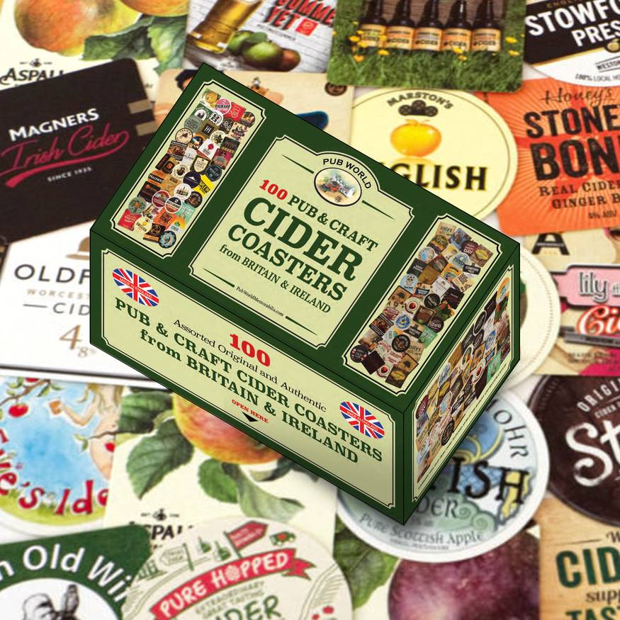 100 assorted British and Irish Pub Craft Cider Coasters