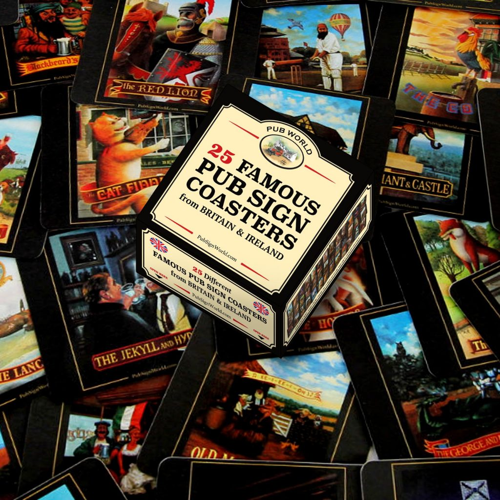 25 British & Irish Vintage Famous Pub Sign Coasters