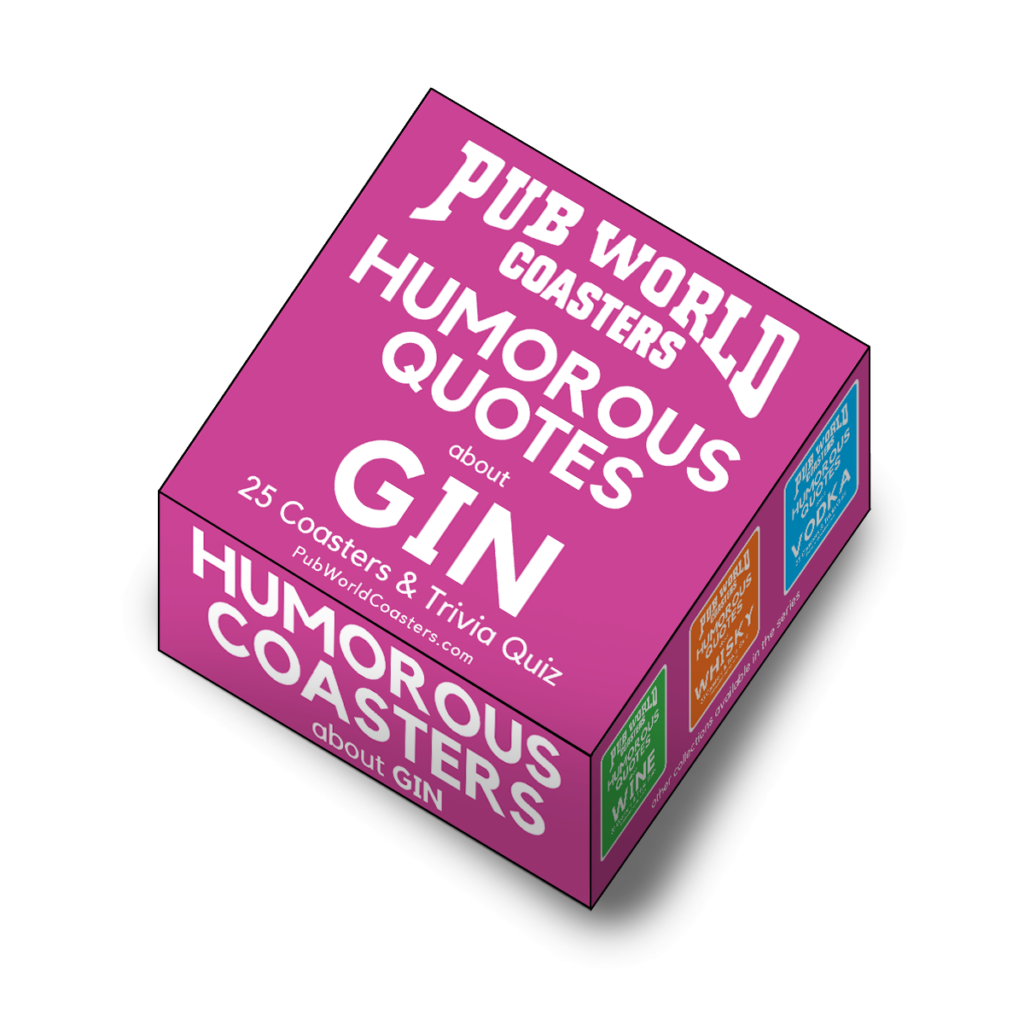 25 Humorous Quotes about Gin, Beer Mat Coasters Funny, with Trivia Quiz
